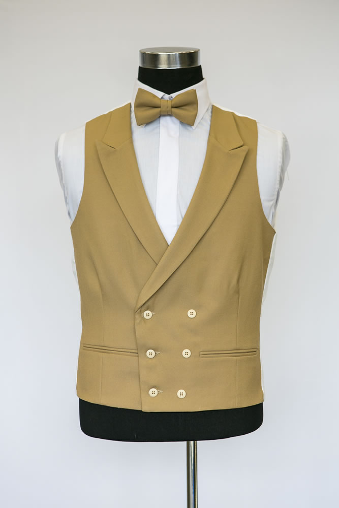 Double Breasted Brown Wool Waistcoat 2