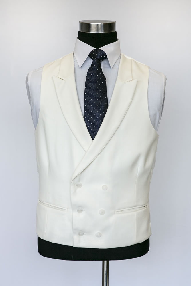 Double Breasted Ivory Wool Waistcoat 2