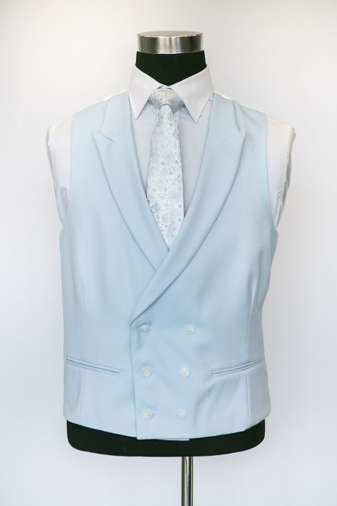Double Breasted Light Blue Wool Waistcoat 1