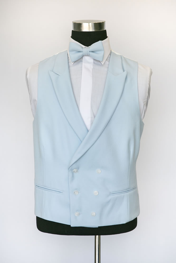 Double Breasted Light Blue Wool Waistcoat 2