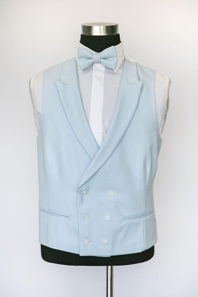 Double Breasted Light Blue Wool Waistcoat 2