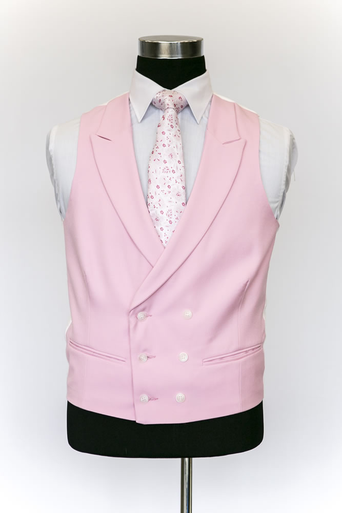 Double Breasted Pink Wool Waistcoat