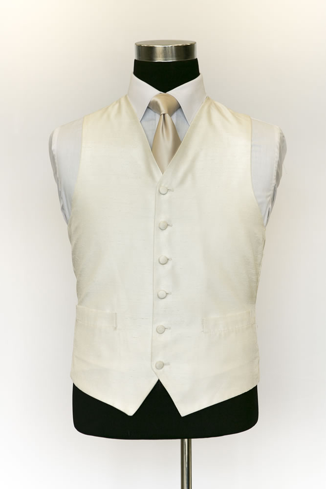 Single Breasted Ivory Satin Waistcoat 1