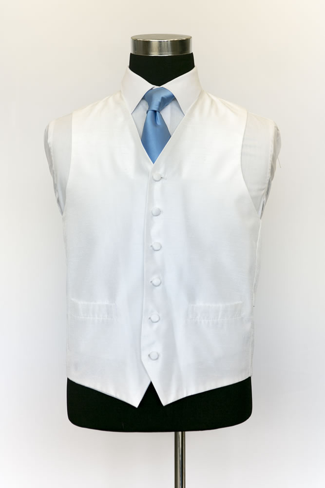 Single Breasted Ivory Satin Waistcoat 2
