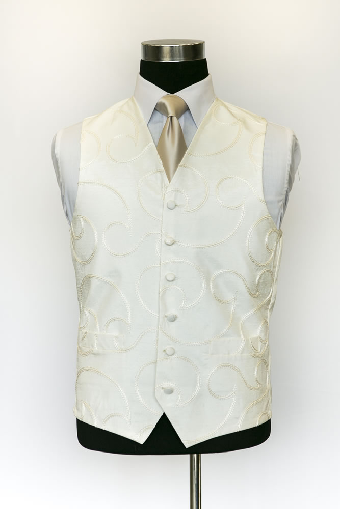 Single Breasted Ivory Silk Etienne Waistcoat