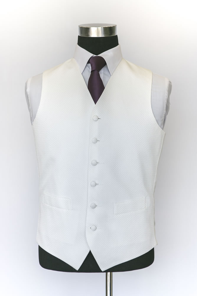 Single Breasted Ivory Silk Waistcoat