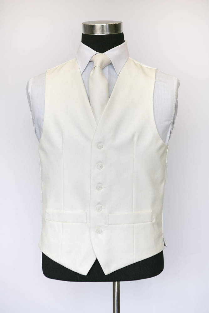 Single Breasted Ivory Wool Waistcoat