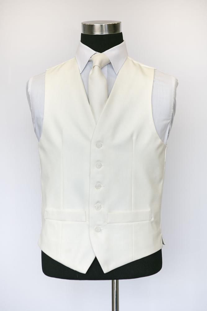 Single Breasted Ivory Wool Waistcoat