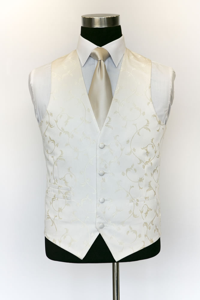 Single Breasted Ivory and Gold Sinarta Waistcoat 1