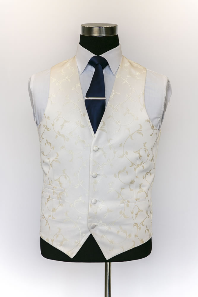 Single Breasted Ivory and Gold Sinarta Waistcoat 2