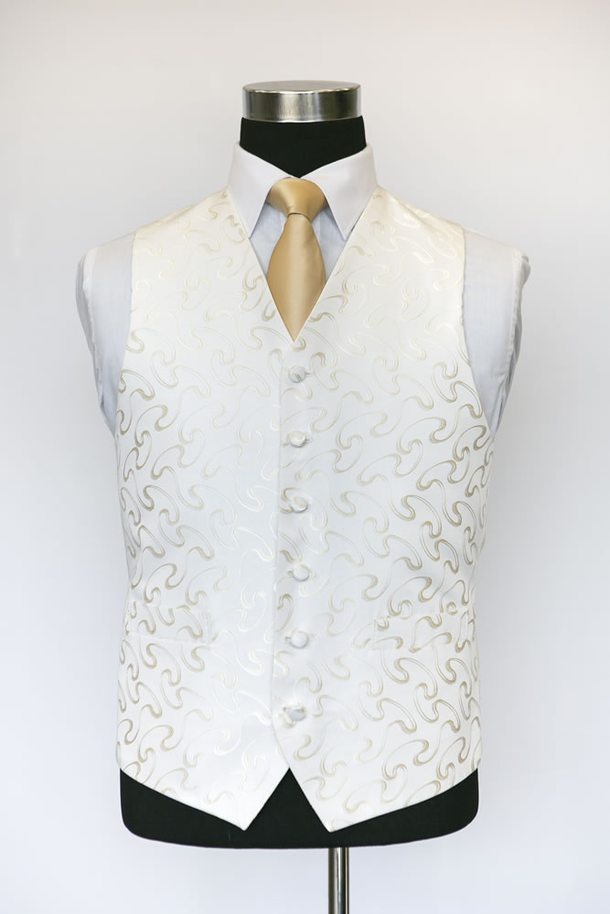Single Breasted Ivory and Gold Vouvray Waistcoat