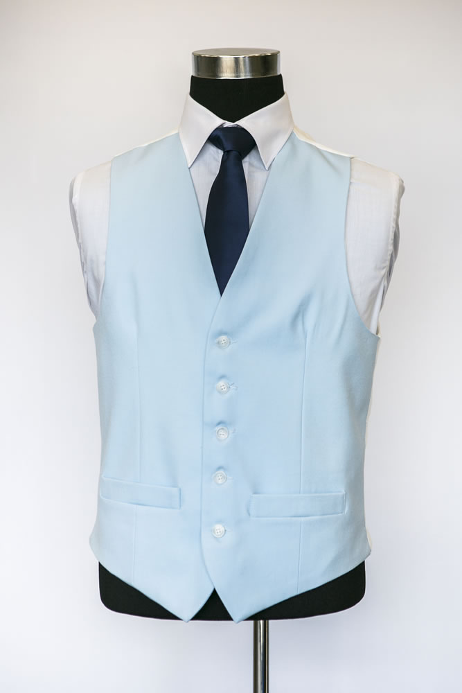 Single Breasted Light Blue Wool Waistcoat