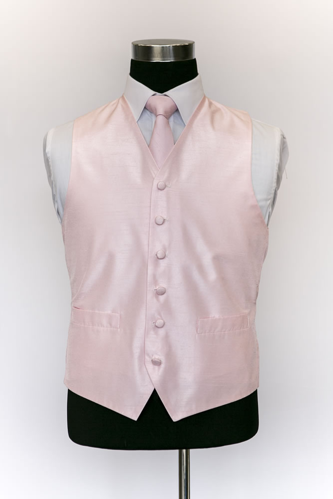 Single Breasted Pink Silk Waistcoat