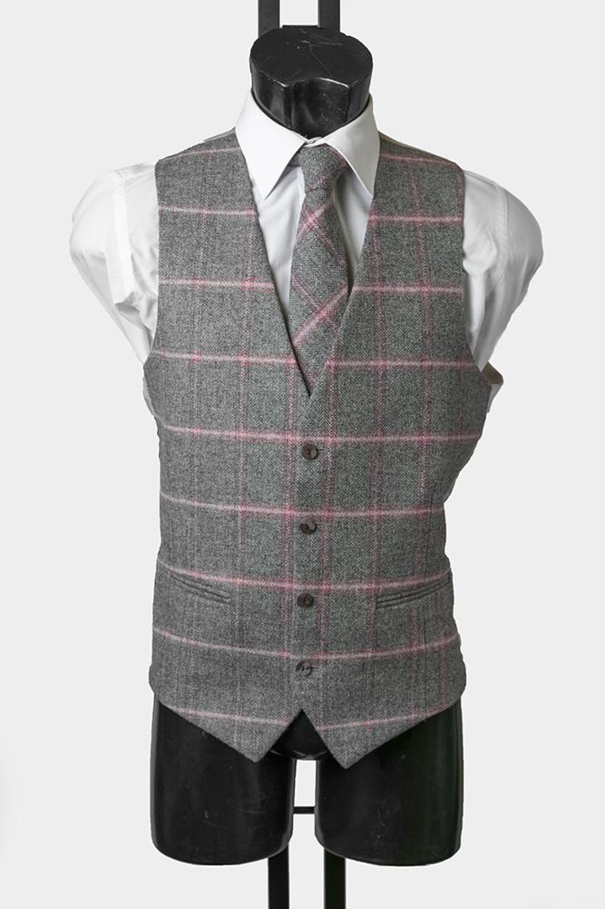 Grey and Pink Tweed Waistcoat