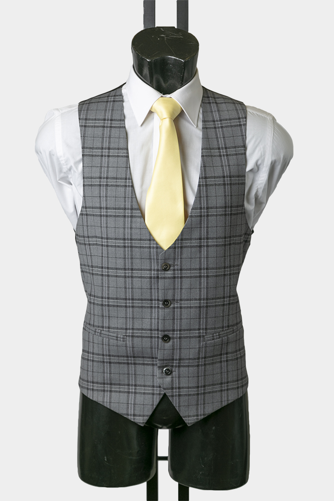 Grey Prince of Wales Check Scalloped Waistcoat