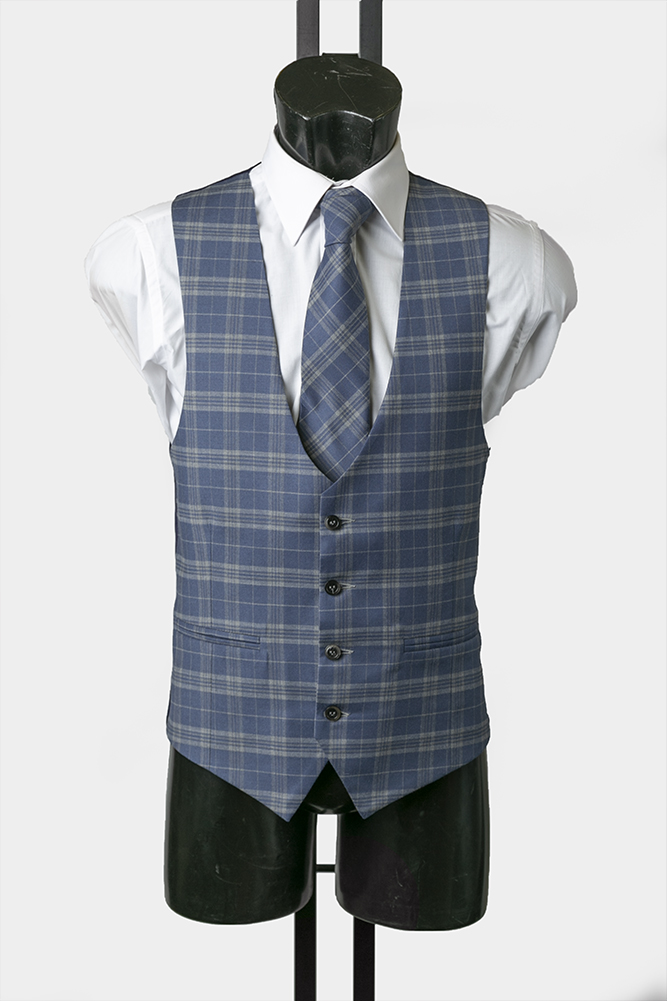 Blue Prince of Wales Check Scalloped Waistcoat