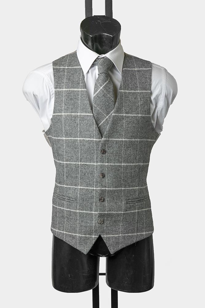 Grey and Ivory Tweed WAistcoat