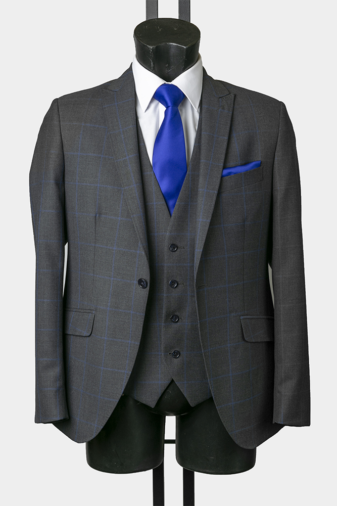 Grey and Navy Window Pane Check Suit