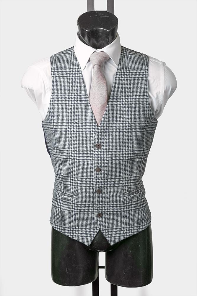 Grey Check Tweed Waistcoat